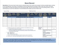 Stock Record Sheet